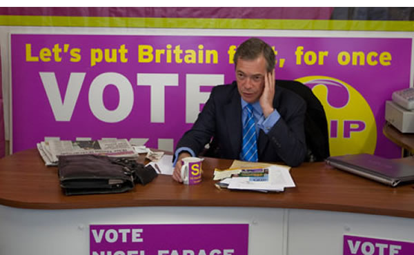 The purple menace: UKIP leader Nigel Farage