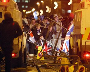 Belfast: A change in policy toward the Union flag sparked violence last night