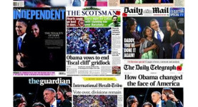 The historic front pages acclaiming Obama