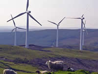 A wind farm at Cefn Croes as portrayed by the See3D Visualisation Centre in Aberystwyth, a graphics system developed by scientists at the University of Wales to illustrate the effect of such installations on the environment