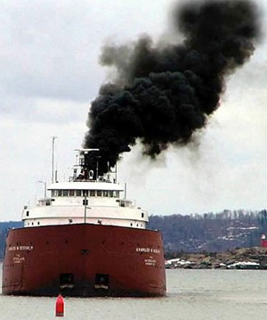 A ship, a polluting ship, belching fumes out into the air - yet Gideon and Dave don't believe this to be pollution