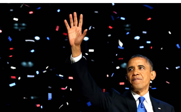 President Barack Obama delivers his 2012 victory speech