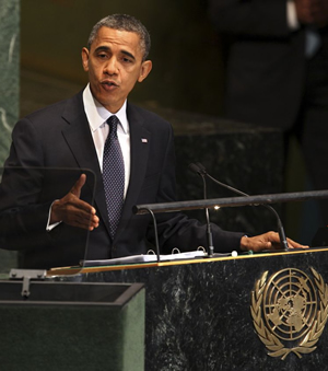 President Barack Obama delivers his speech to the United Nations General Assembly