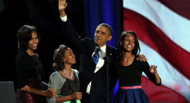 Party time! President Obama, Michelle and the girls
