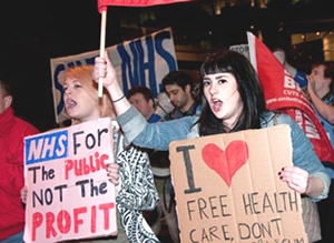 Fighting for a fairer future: Campaingers protest against the Cameron/Lansley anti-NHS health and social care bill