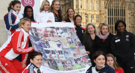 Sportswomen outside Parliament on Wednesday - not that you'd have noticed it from today's papers