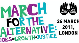 "Destination London: The TUC ""March For The Alternative"", March 26, 2011; click to enter the official website"