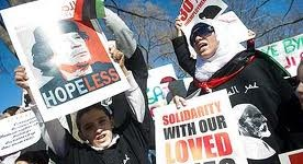 Down with Gaddafi: Supporters of the Libyan uprising in Washington DC