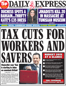 Daily Express budget front