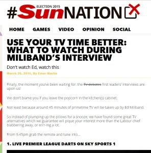 Sun Nation says dont watch Miliband