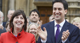 Ed Miliband Welcomes New Labour MPs To Parliament...LONDON, UNITED KINGDOM - NOVEMBER 19: Labour leader Ed Miliband welcomes the newly elected members of parliament to the House of Commons in London MP for Manchester Central Lucy Powell (left) and MP for Cardiff South and Penarth Stephen Doughty (right) after winning their seats in the recent by-elections, on November 19, 2012 in London, England.  PHOTOGRAPH BY Steve Back / Barcroft Media  UK Office, London. T +44 845 370 2233 W www.barcroftmedia.com  USA Office, New York City. T +1 212 796 2458 W www.barcroftusa.com  Indian Office, Delhi. T +91 11 4053 2429 W www.barcroftindia.com