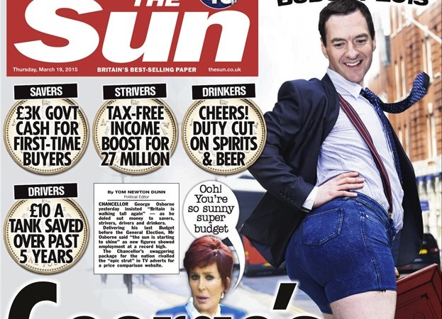 THE SUN FRONT PAGE 19.03.15. Georges epic strut Budget