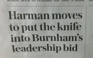 Harman knifed Burnham Telegraph