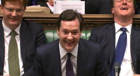 Danny Alexander, George Osborne, David Cameron laughin
