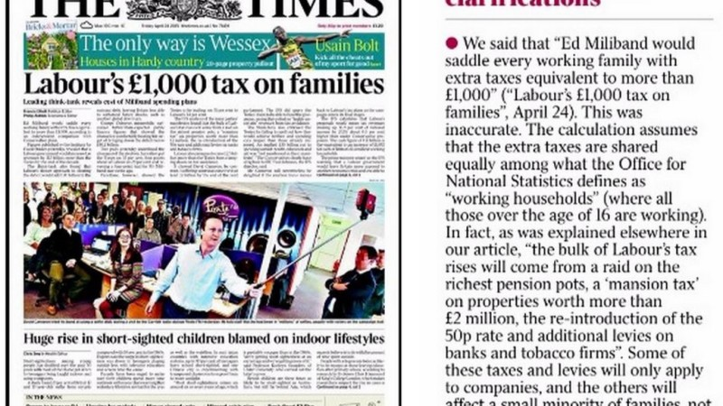 The Times, £1000 correction