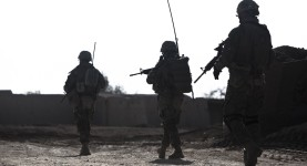 Georgian soldiers with the Batumi Light Infantry Battalion, Regional Command (Southwest), depart for a patrol at Combat Outpost Eredvi, Helmand province, Afghanistan, Nov. 7, 2013. The battalion is one of the largest ground combat assets available to RC(SW).