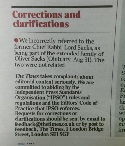 Times correction September 2, Sacks