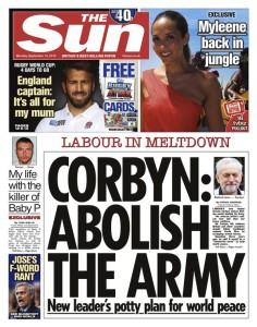 Sun Corbyn abolish the army