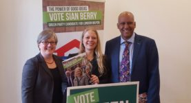 Caroline Russell, Green Party spokesperson for Transport, Sian Berry, and Green Party deputy leader Shahrar Ali