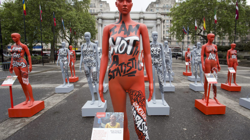ActionAid's International Safe Cities for Women Day at Marble Arch, with an interactive exhibition featuring a group of 30 mannequins, London. Picture date: Thursday May 19, 2016. A third of the mannequins featured in the installation will be marked in red, to represent the one in three women who experience violence in their lifetimes. But behind every statistic is a real woman, and on each mannequin are quotes from women around the world telling their experience of urban violence and the stories behind the statistics. ActionAid is campaigning for the UK government to commit to increasing the proportion of aid going directly to women's groups working on the frontline in poor communities. (photo by Andrew Aitchson/ActionAid)