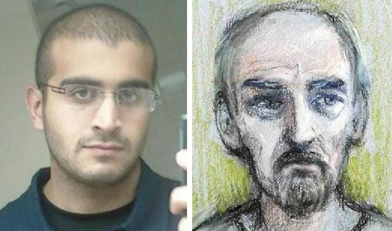 Omar Mateen and Thomas Mair court drawing
