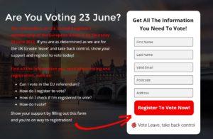 Vote Leave register