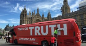 Greenpeace bus Time for Truth