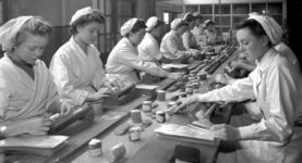 women at work in the mid-20th century - black and white