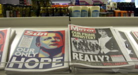 Newspapers for sale at a retail store