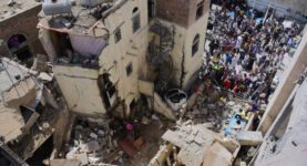 Sana'a residential area destroyed in Yemen after an airstrike