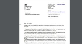 FOI response to Neil Cowan from the Dept of Work and Pensions