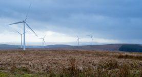 A photo of wind turbines